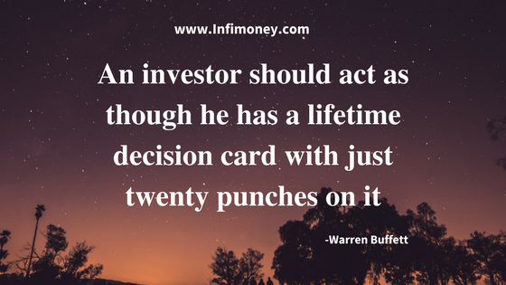 An investor should act as though he has a lifetime decision cardwith just twenty punches on it
