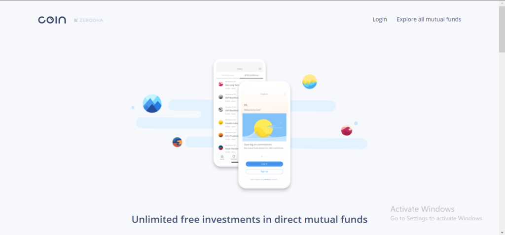 best mutual fund apps - Zerodha Coin Website